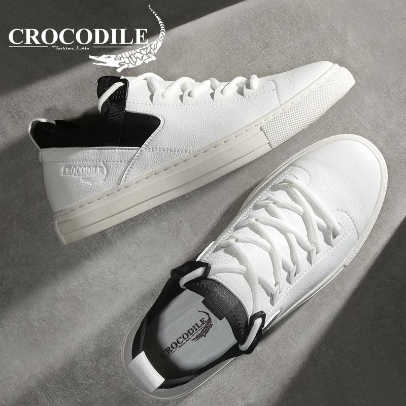 Крокодил оригинальный Для мужчин плоским тапки обувь из натуральной кожи мужские беговые спортивная обувь для Для мужчин спортивная Скейт...