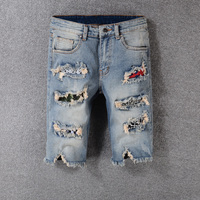 Fashion Streetwear Summer Men's Jeans Shorts Blue Black Color Destroyed Short Ripped Jeans Homme Patchwork Hip Hop Shorts Men