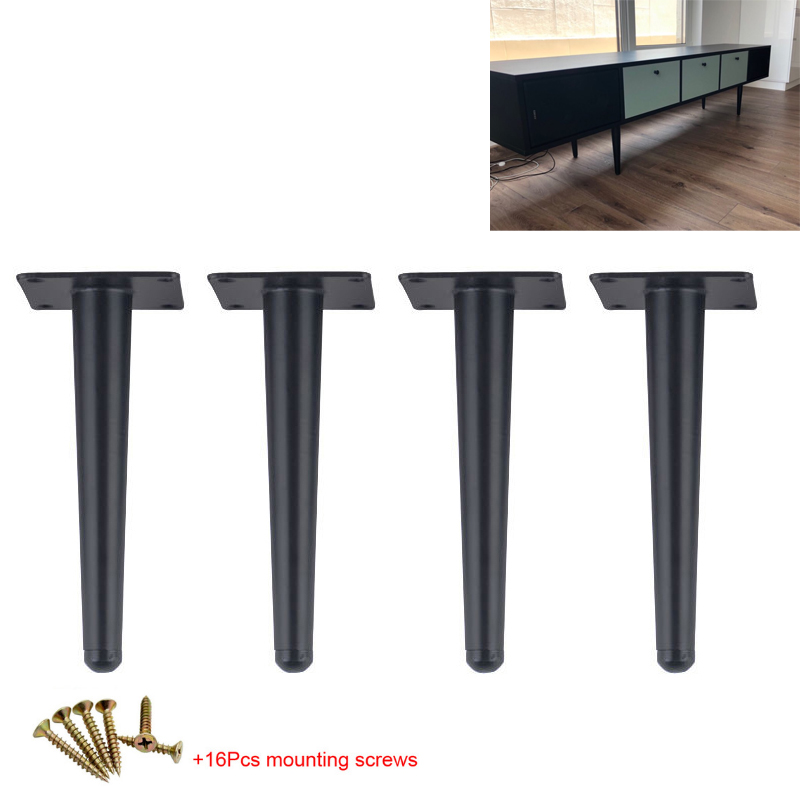 4Pcs Straight Cone Furniture Table Legs 25/30CM Metal Sofa Cupboard Cabinet TV Cabinet Furniture Leg Feet Stool Chair Leg Feet