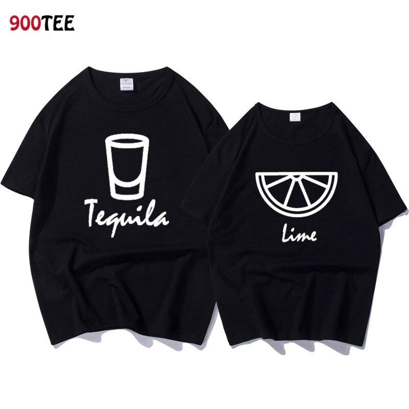 Marca de moda par camiseta mujer carta impresión Tequila Lima divertido T camisa verano Tops Casual camiseta par pareja ropa de algodón
