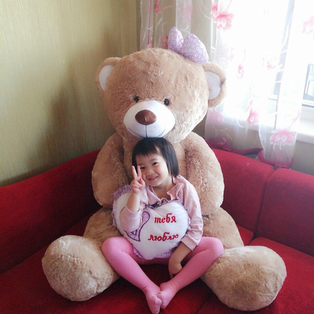 Peluche jouets gros nounours doux en peluche oreiller géant pour filles bébé musical 120 cm avec coeur livraison gratuite de la russie
