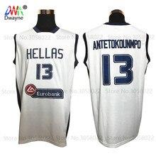 2017 Dwayne Hellas Giannis Antetokounmpo Jersey Mens Cheap Throwback Basketball Jersey 13 Greece White Vintage Basket Sewn Shirt