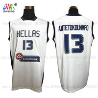 2017 Dwayne Hellas Giannis Antetokounmpo Jersey Mens Cheap Throwback Basketball Jersey 13 Greece White Vintage Basket