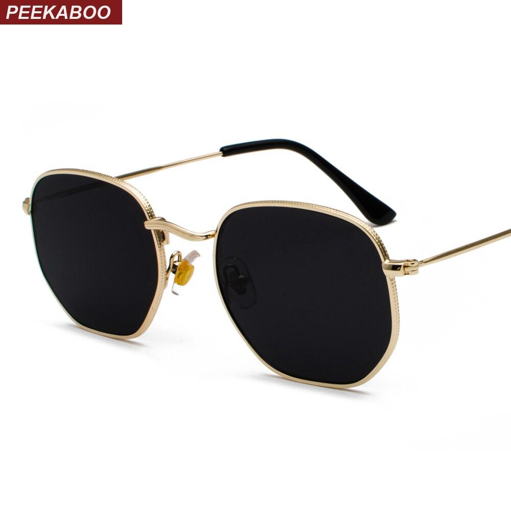 Peekaboo Gold Square Sunglasses For Women 2019 Black Silver Mirror Sun Glasses For Men Small Face Uv400 Metal Frame