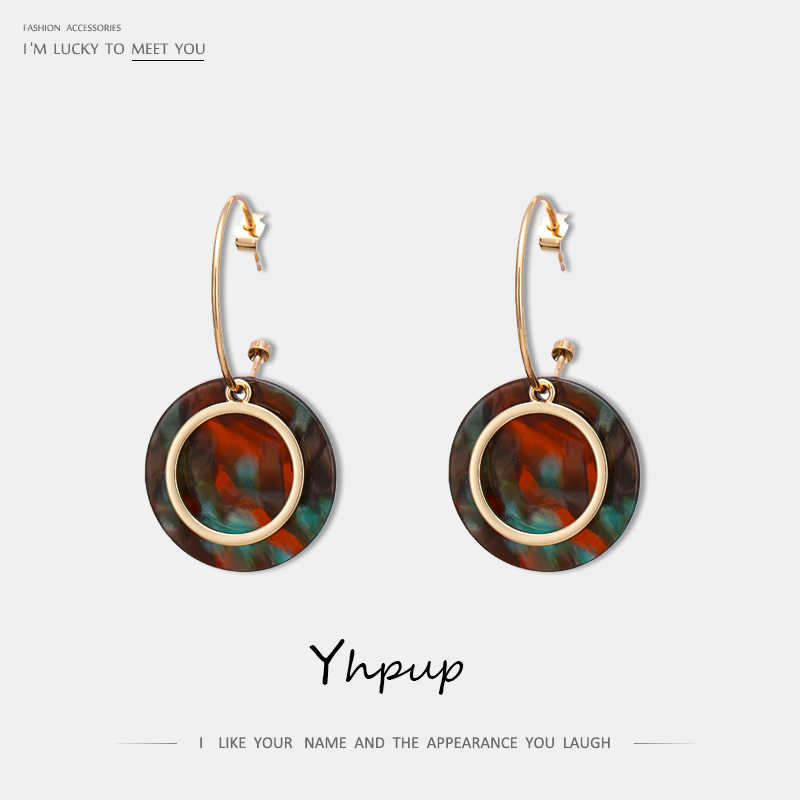 Yhpup Temperament Acetic Acid Acrylic Round Dangle Earrings Bohemia Geometric Copper Brincos pendientes mujer Statement Jewelry