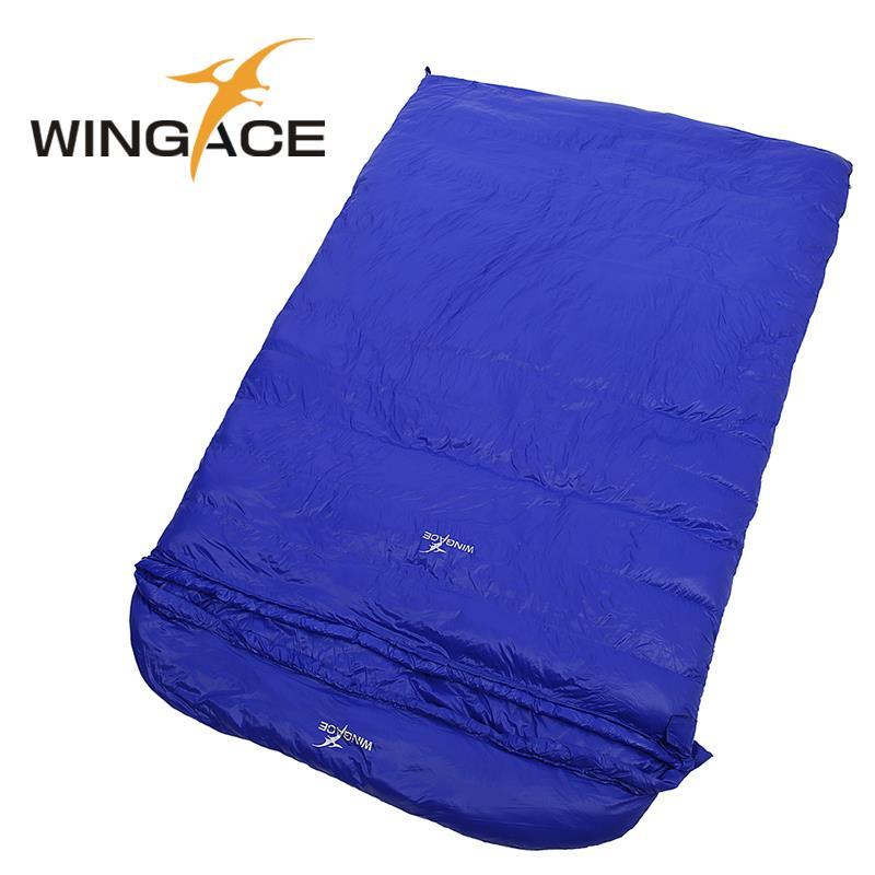 WINGACE 채우기 1000G 2000G 3000G 4000G 5000G Duck Down Envelope Sleeping Bag 캠핑 야외 하이킹 성인 더블 슬리핑 백