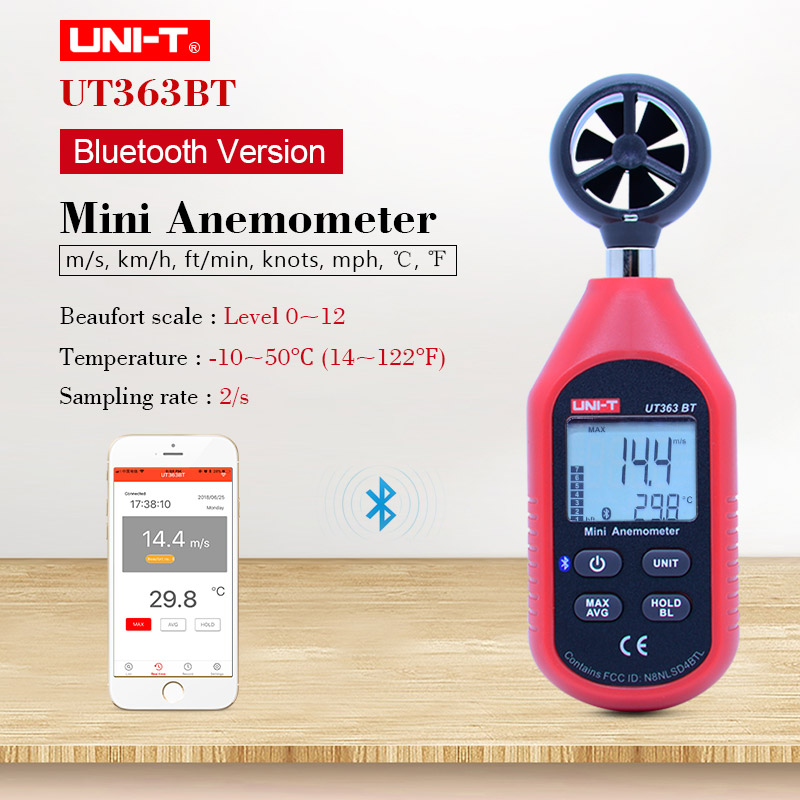 UNI-T UT363 Digital LCD Anemometer Wind Speed meter Temperature Tester Thermomet