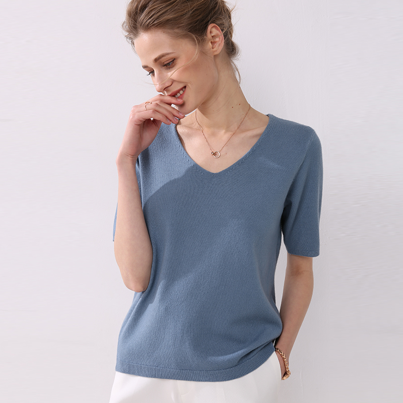 Autumn Women T-Shirts Short Sleeves V-neck Summer Short Casual Solid Fashion Female Knitting Sweater Tops Tees