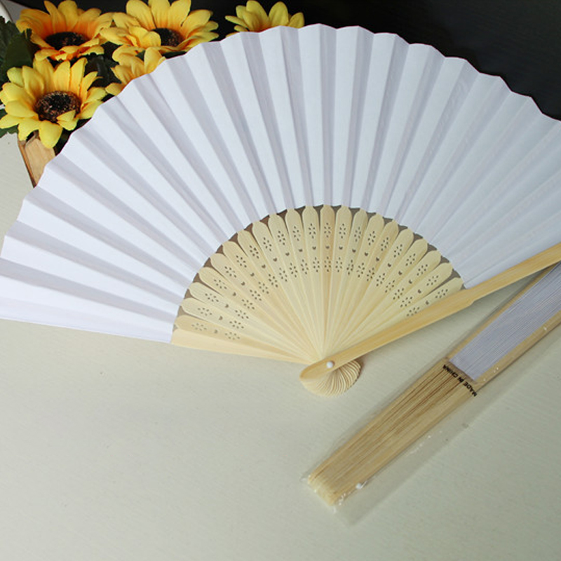 21cm Folding Paper Fan Chinese Style Blank Paper Folding DIY Painting Fan Quality Advertising Handmade Ornaments