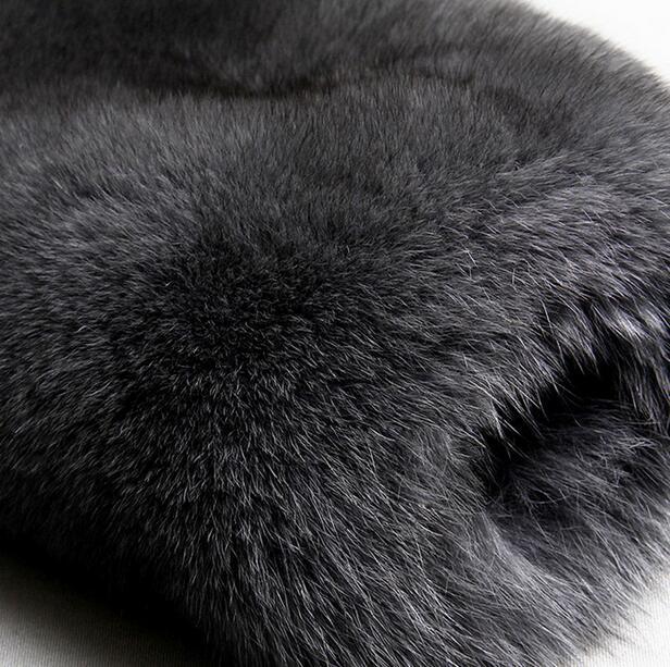Chaud Vison Manteaux Survêtement Tailleur Fourrure Manteau Veste Pour De Thermique Lapin Gris Col Faux Imitation Hiver En Villosités Cuir Hommes Lâche wtORdf