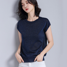 shintimes Silk Knitted T Shirt Women Short Sleeve Top Summer 2019 Casual T-Shirts Female Woman Clothes Loose Tee  Femme