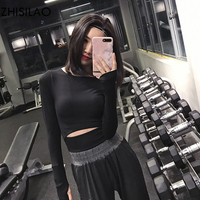ZHISILAO 2018 Breathable Comfort Woman T shirt Woman t shirt Quick Dry Comfort T shirt Black Crop Top Fitness Long Sleeve Tops
