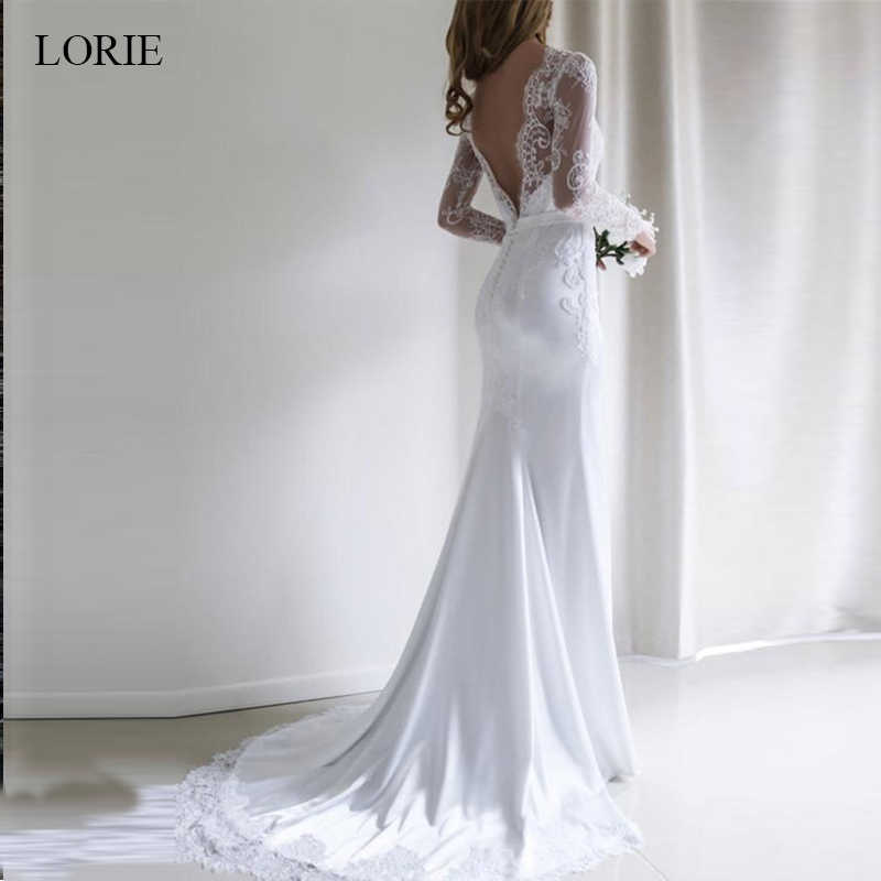 LORIE Mermaid Wedding dress 2019 Chiffon and Satin and Lace Long sleeve Wedding Dress with Belts Brush Train vestido de noiva