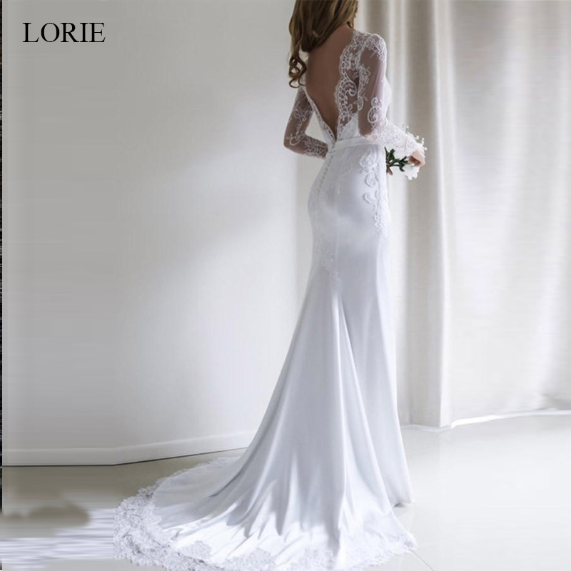 LORIE Mermaid Wedding Dress 2019 Chiffon And Satin And Lace Long Sleeve Wedding Dress With Belts Brush Train Vestido De Noiva