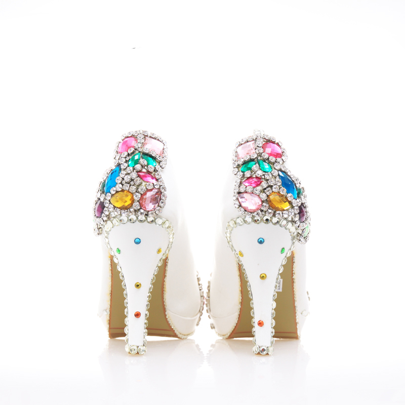 Performance 10cm Couleur White 14cm Show Mariage Mix 34 45 forme Heels Haute Heels Plate Pompes white Adulte Cristal 12cm De 8cm Cérémonie Avec Blanc Talons Taille Chaussures qgPq7d