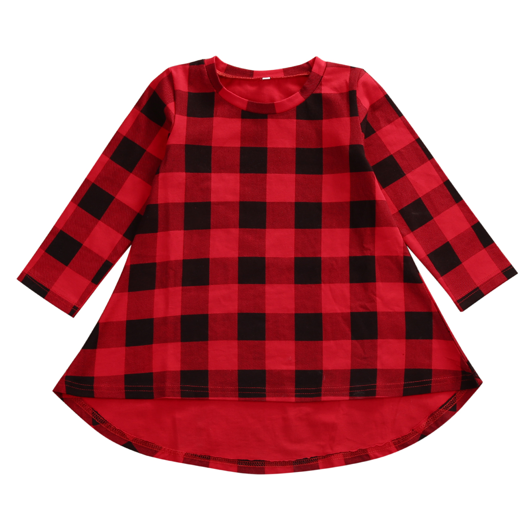 Helen115 Casual Baby Kids Girls Red And Black Plaid Full Sleeve O neck Cotton Dresses 1-6Years