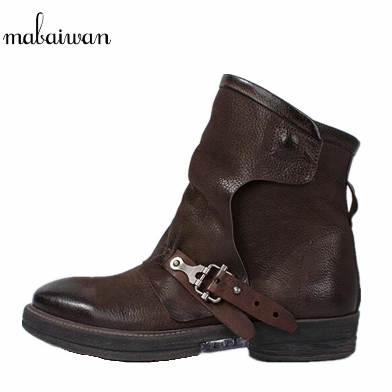 Mabaiwan Women s Shoes Retro Genuine Leather Winter Snow Ankle font b Boots b font Coffee