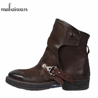 Mabaiwan Women's Shoes Retro Genuine Leather Winter Snow Ankle Boots Coffee Flat Shoes Woman Martin Cowboy Boots Botines Mujer