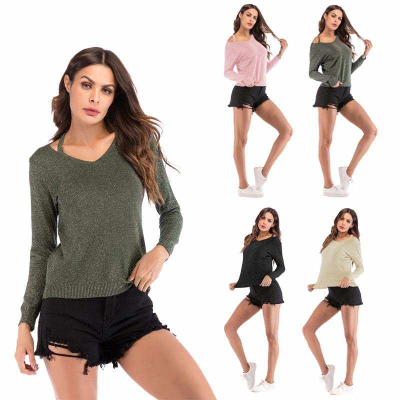 Autumn V-Neck Sweater Women Pink Knitted Slim Fit Tops Long Sleeve Casual Spring Green Sexy Female Hollow Out Pullovers Ladies