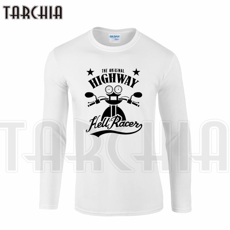 TARCHIA Brand Free Shipping Eur Size Long Sleeve Men T-Shirt 100% Cotton Plus Size Men's Tee Fashion tee Moto Highway Cool