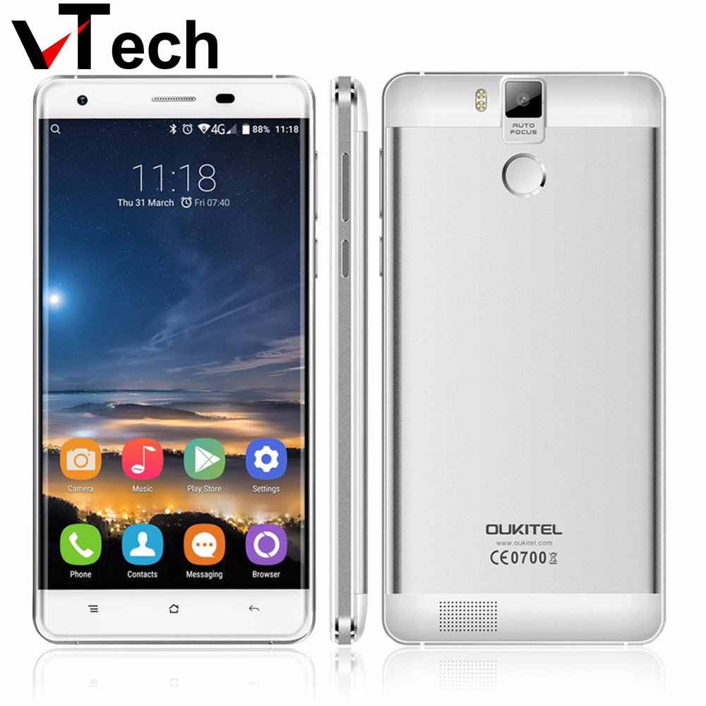 Original Oukitel K6000 PRO Android 6.0 5.5 Inch FHD Mobile Phone Octa Core MTK6753 3GB+32GB Fingerprint FDD LTE 4G 16MP 6000mAh