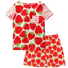 Strawberry Red Baby Girl Clothes 1-5Y Toddler Tee Shirts Pant Clothing Suit Children Outfits Cotton Kid Top T-Shirt Panties Soft(China)