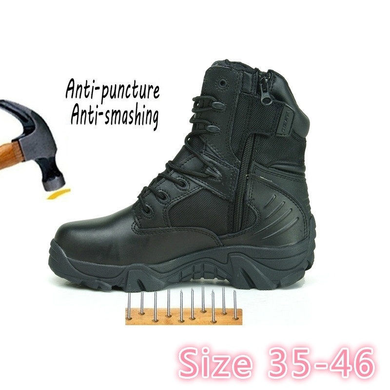 2018 chaussures de sécurité armée homme Commando Combat désert hiver extérieur randonnée bottes atterrissage tactique travail chaussures (taille 35-46)