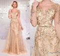 2016 mãe da noiva vestidos Bateau mangas compridas champagne brilhante contas lantejoulas apliques de renda Formal vestidos de festa das mães