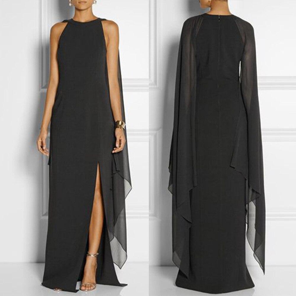 2018 automne femmes en mousseline de soie longue robe manches chauve-souris Split Maxi robes Sexy élégant reine robe de soirée Vestidos Femininos Y037