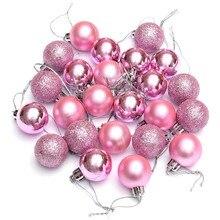 حار 24 قطعة شجرة شيك حلي عيد الميلاد عادي بريق عيد الميلاد زخرفة زخرفة كروية الوردي
