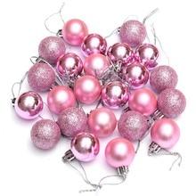 Hot 24Pcs Chic Palline Di Natale Albero Pianura Glitter di NATALE Ornamento Decorazione di Palla Rosa