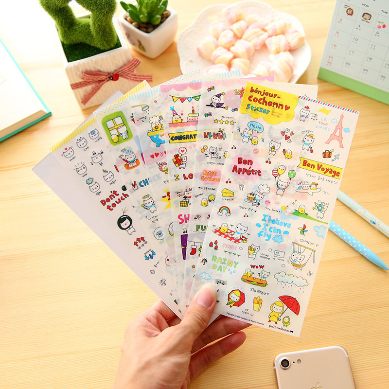 6 Sheet/set Decoration Decal DIY Album Scrapbooking Diary Sticker Kawaii Stationery Cute Piggy Paper Stickers