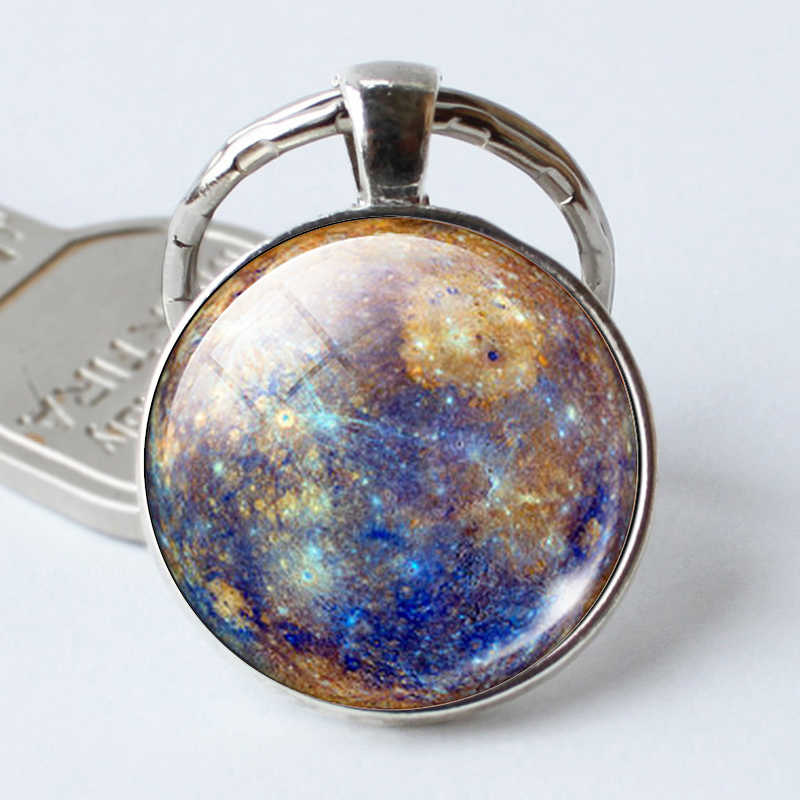 Mercury Pendant Key Ring Mercury Keychains  Mercury Jewelry Galaxy Universe Space Planet Keychains  Christmas Gift for Men