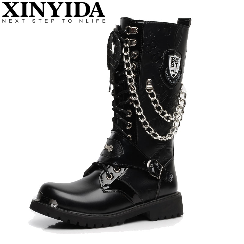 British Style High Quality Pu Leather Men Boots High-top Fashion Punk Martin Shoes Men Ankle Botas Motorcycle Boots Size 37-44 2016 new arrival men winter martin ankle boots pu leather high quality fashion high top shoes snow timbe bota hot sale flat heel
