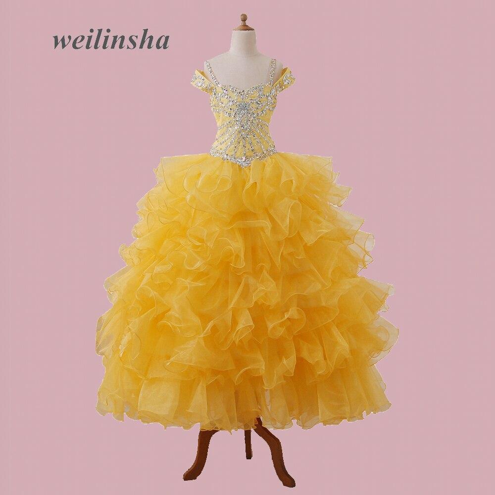 Weilinsha 2017 Yeni Varış Organze Çocuk Pageant elbise Kapalı omuz Altın Çiçek Kız Elbise Shing Boncuklu Parti Elbise
