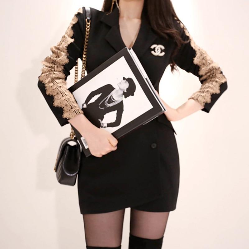 Solide Femmes Manches Longues Costume Noir Blazer Taille Bandage 2019 Ressort Entaillé Bureau Plus La Courte Robe Moulante À Robes hQdCsxtrB