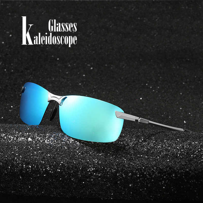 3b9435362be Kaleidoscope Glasses Men Driving Sunglasses Metal Frame Polarized Sunglasses  Male Car Drivers Anti-glare Sun