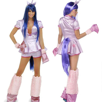 High Quality Masquerade Party Pony Costume Halloween Pink Little Pony Uniform Set Cute Moon Princess Role Playing