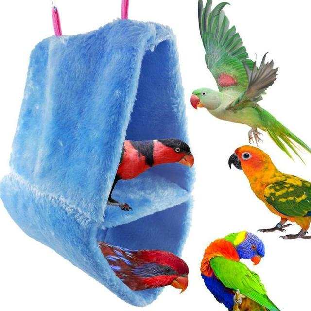 Invierno doble capa de coral Aves hamaca loro casa cama nido cálido ...