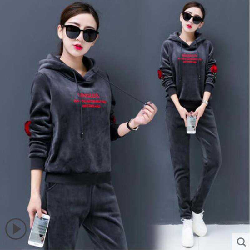 Women Sportswear 2pcs Set Winter Warm Velour Tracksuit Two Piece Set Long Sleeve Hoodies And Pants Sweat Suits Women Outfits