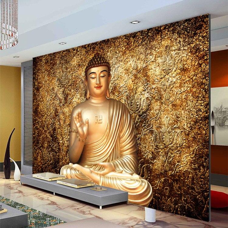 Goldene Buddha Foto Tapete Buddhistischen Tempel Wandbild Nach 3d Tapete Fur Wande Designer Schlafzimmer Wohnzimmer Restaurant Wallpaper For Walls Designs 3d Wallpaperphoto Wallpaper Aliexpress