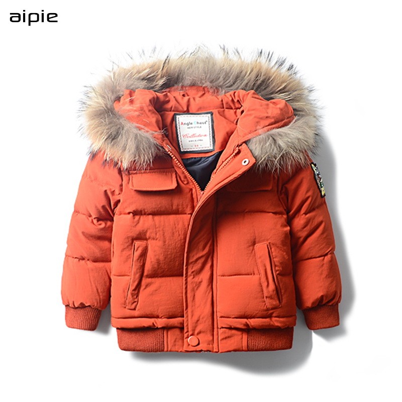 aipie Promotion New Children Boy's Parkas Outerwear Casual Solid Fur collar Hooded Thick Warm Coats Winter For 2-10 years kids new winter women long style down cotton coat fashion hooded big fur collar casual costume plus size elegant outerwear okxgnz 818