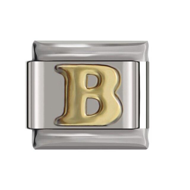 Hapiship Original Daisy Gold 26 Letters A-Z Italian Charm Fit Bracelet Stainless Steel Jewelry Making 2