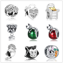 1pc free shipping european family tree cat lock key bunny diy bead Fit Pandora Charm Bracelet for women jewelry EL178(China)