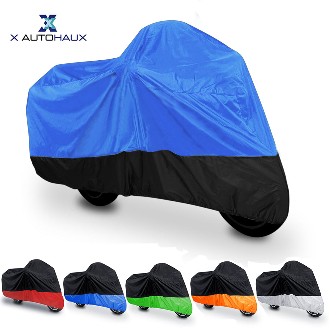 X AUTOHAUX Universal 180T Rain Dust Winter Motorcycle Cover Outdoor Waterproof UV Whole Motor COVER With Tighten Strap Design