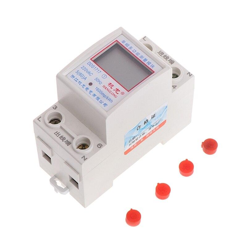 цена на 5(60)A 220V 50HZ Single Phase Din Rail KWH Watt Hour Din-rail Energy Meter LCD #0616