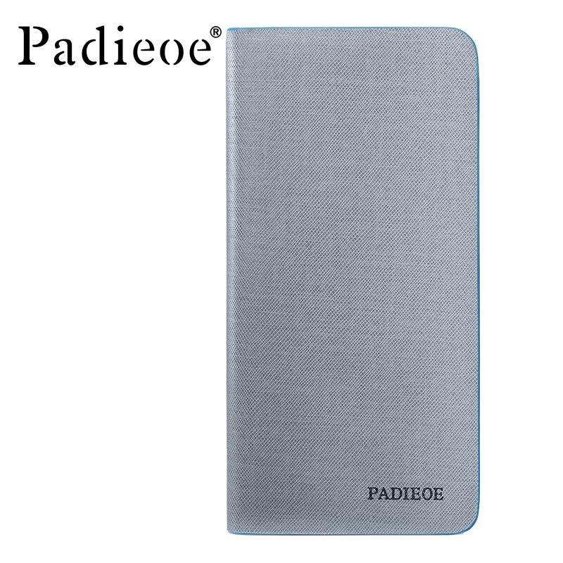 Padieoe High Quality Split Leather Men's Long Purse Famous Brand Slim Wallets for Male Brand Padieoe 2017 Design ID Card Holder