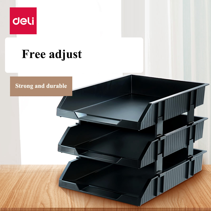 Deli 9206 plastic Document trays 3 layer file basket file tray documents management black gray colors