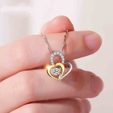 Gorgeous Double Heart 925 Sterling Silver Pendants Necklaces for Women Wedding Jewelry Crystal Zirconia Chokers Necklace