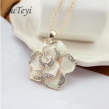 Suteyi, модные длинные ожерелье camellia, в форме цветка, чокер кулон ожерелье Черная роза, Женское Ожерелье, ювелирных изделий